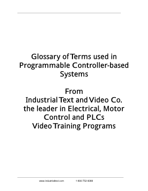 Glossary of Terms used in Programmable Controller-based Systems
