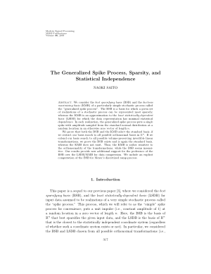 The Generalized Spike Process Sparsity and Statistical Independence