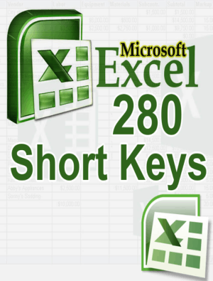 MS Excel 280 Short keys Guide Book