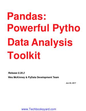 Pandas Powerful Python Data Analysis Toolkit