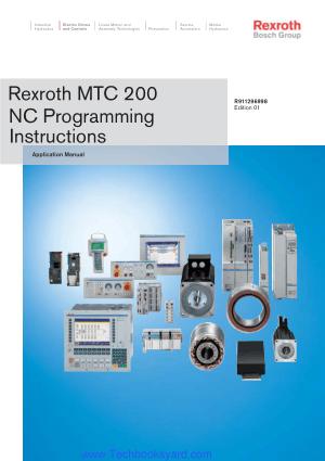 Rexroth MTC 200 NC Programming Instructions