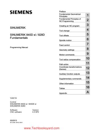 SINUMERIK 840D sl 828D Fundamentals Programming Manual
