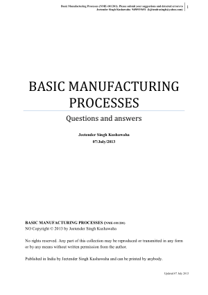 BASIC MANUFACTURING PROCESSES Questions and answers