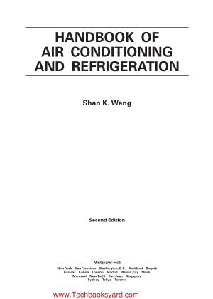 Handbook Of Air Conditioning And Refrigeration Shan K Wang