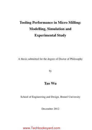 Tooling Performance in Micro Milling Modelling Simulation and Experimental Study